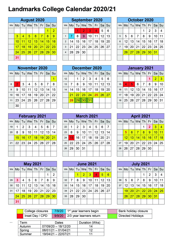Academic calendar 2020/21
