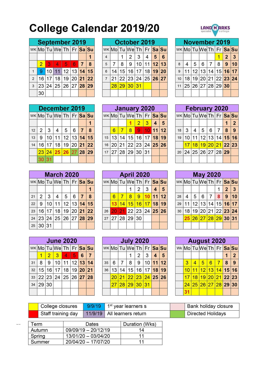 Academic calendar 2019/20 (UK)